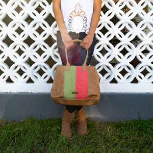Leather bag, camel color, mint and coral loom insert, modeled.