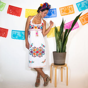 Halter White Mexican Dress with Multicolor Flower Embroidery