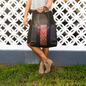 Black and brown leather bag with loom insert