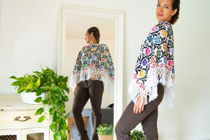 Mexican Poncho with Embroidered Flowers
