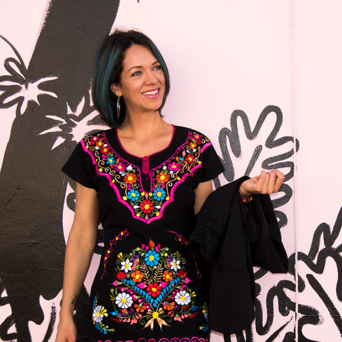 Mexican embroidered dress, black fabric multicolor embroidery, modeled