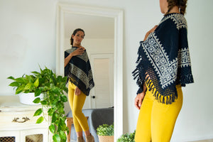 Wool Black Aztec Cape Embroidered with Geometric Design.