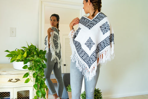 Bohemian Cape in White with Black Geometric Embroidery