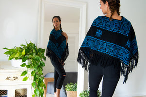 Black Mexican Poncho with Blue Embroidery