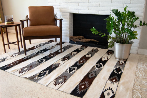 Black, white, brown, diamonds wool rug
