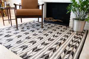 Black and white geometric lines southwestern rug