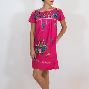 Pink and multicolor Mexican embroidered dress, modeled