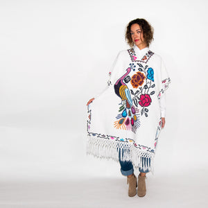 White Poncho with Colorful Embroidery