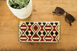 Navajo embroidery, ethnic inspired wallet in black and red