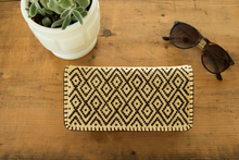 Geometric pattern, ethnic embroidered Mexican wallet, diamonds in brown