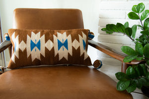 southwestern pillow, navajo pillow, wool pillow, geometric pillow, mustard pillow, camel pillow. blue pillow, rectangular pillow, bolster pillow, lumbar pillow
