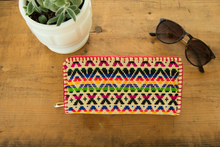 colorful rainbow embroidery geometric pattern wallet, ethnic inspired