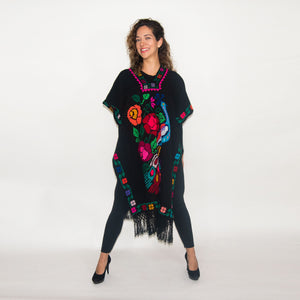 Handwoven Black Mexican Poncho