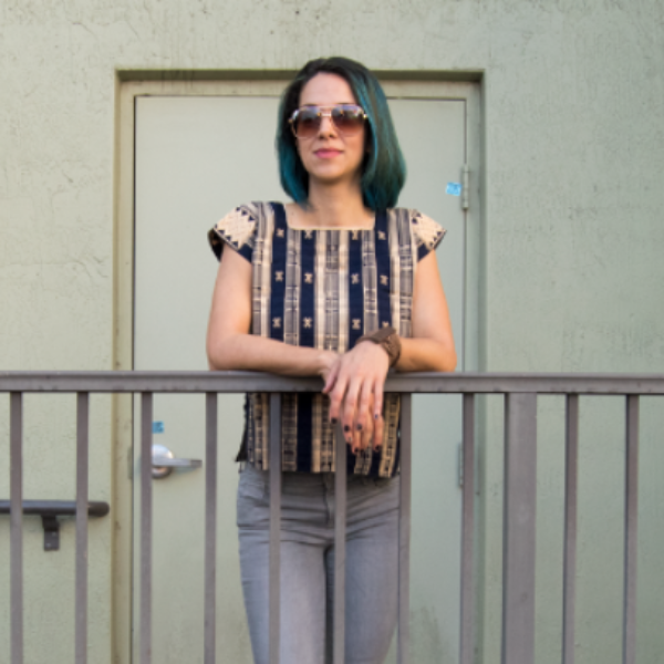 Mexican beige and navy blue huipil blouse made on loom