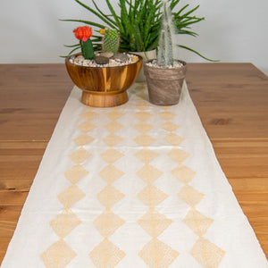 Unique accent table runner made on waist loom, beige and white