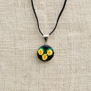 Pendant with Hand Embroidery Flowers