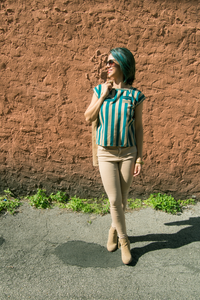 Mexican beige and green striped huipil blouse made on loom