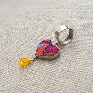 Handmade Rings, Hand Embroidery Heart