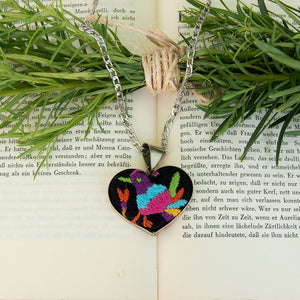 textile heart shaped necklace, Otomi embroidery