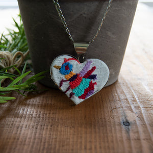 Tenango de Doria Embroidered Heart Necklace.