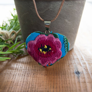 Textile jewelry embroidered flower heart shaped colorful pendant