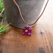 textile mini square friendship rainbow necklace