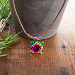 Mini Square Textile Necklace.