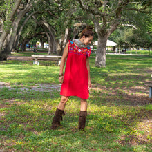 Red loose Mexican dress, multicolor embroidery