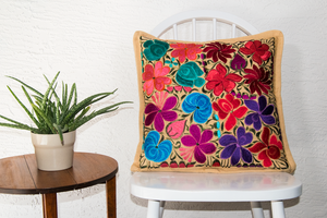 Mexican embroidered pillow with flowers