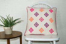 cross stitch folkloric Mexican inspired pillow geometric pattern