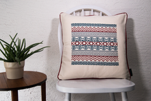 cross stitch folk Mexican inspired embroidery pillow