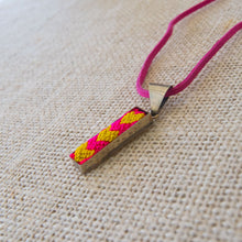 Textile necklace made on loom, accent accessories
