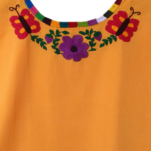 colorful flower embroidery Mexican huipil, yellow