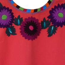 colorful flower embroidery Mexican huipil, coral