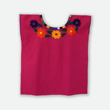 colorful flower embroidery Mexican huipil, pink