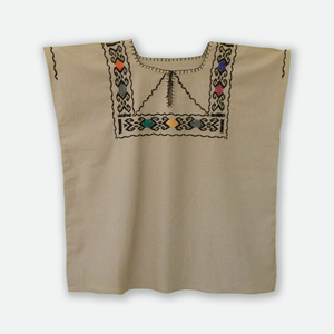 Mexican embroidered blouse beige