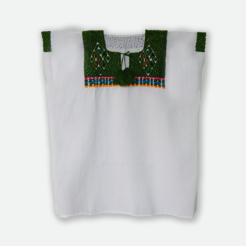 White Mexican huipil embroidered with green yarn