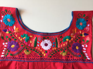 Mexican multicolor floral embroidery of red dress