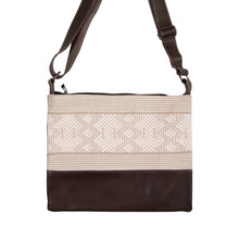 Brown leather bag, beige loom insert, geometric pattern