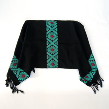 Ethic inspired Mexican poncho made on waist loom, black and turquoise.