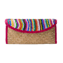 Straw clutch bag embroidered with sequin, red trim