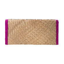Palm woven clutch bag embroidered with sequin, lines, pink trim