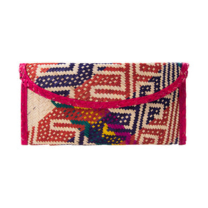 Dyed straw clutch bag with geometric weaved pattern