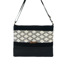 Leather cross body bag, white and black loom insert