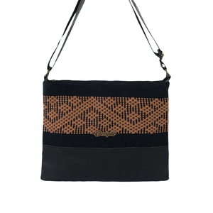 Black leather bag, black and brown loom insert, geometric pattern