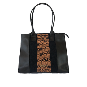 Black and brown leather bag with loom insert, geometrical pattern