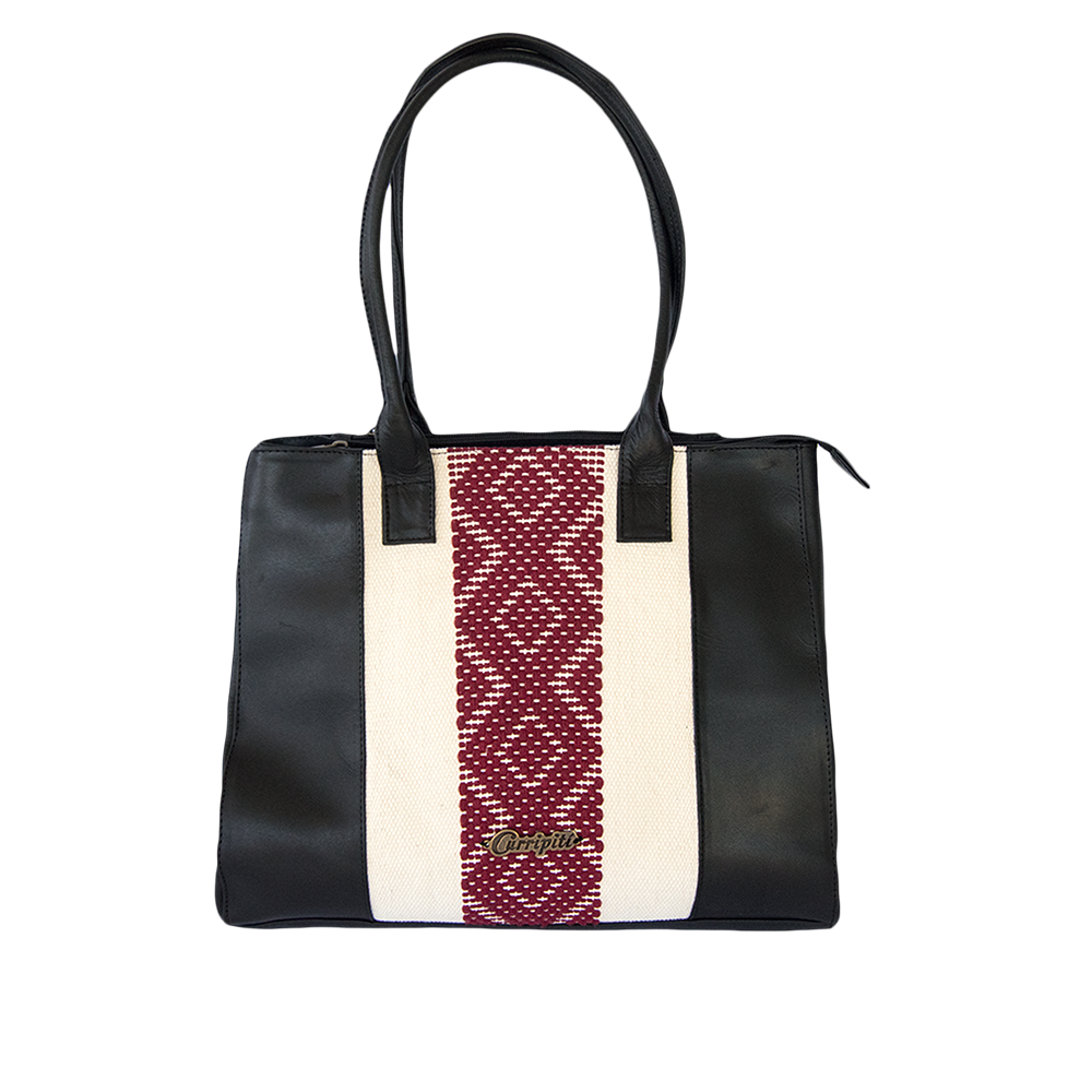 black leather bag, white and red loom insert, geometric pattern