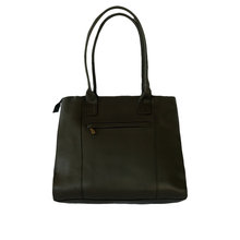 Black and brown leather bag with loom insert, back wiew