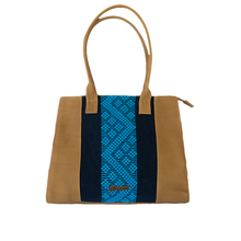 Leather bag, camel color, navy and blue loom insert