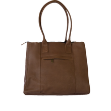 Leather bag, camel color, back view
